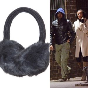 Scoop NYC rabbit fur chic knit earmuffs Gift NWT